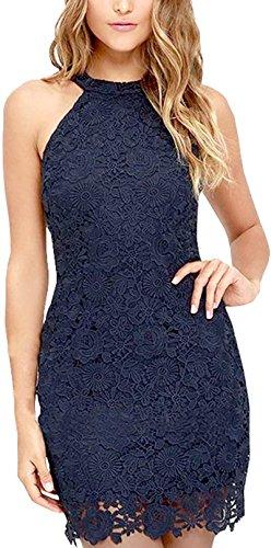 Damen Sommerkleid Vintage ?rmellos Spitzenkleid Ballkleid cocktailkleid Retro Rockabilly Festlich Partykleid 8 Farbe Blau-S - 1
