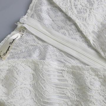 Damen Spitze Etuikleid mit V-Ausschnitt Minikleid Zipper Party Langarm Kleider - 2