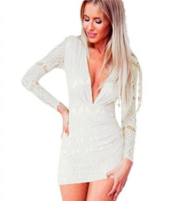 Damen Spitze Etuikleid mit V-Ausschnitt Minikleid Zipper Party Langarm Kleider - 1