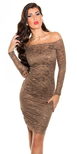 Damen Spitzen Midi Dress CAPPUCCINO S 34 36 - 1