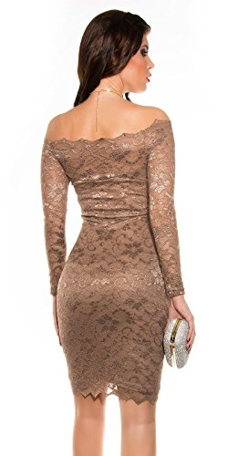 Damen Spitzen Midi Dress CAPPUCCINO S 34 36 - 2