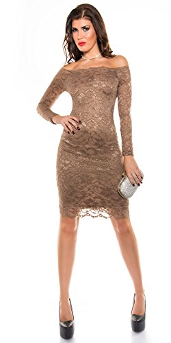 Damen Spitzen Midi Dress CAPPUCCINO S 34 36 - 4