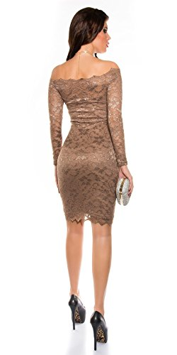 Damen Spitzen Midi Dress CAPPUCCINO S 34 36 - 5