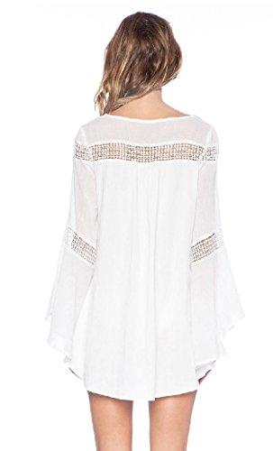 Damen Strandkleid Tief-V Trompetenärmel Vintage U-Ausschnitt Hohl Sommerkleid Minikleid Elegant Casual Spitzenbluse Tunika Weiß -