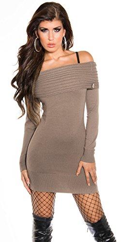 Damen Strickkleid Feinstrick Pullover Pulli LongShirt Sweater Minikleid 32 34 36 38 Cappuccino - 1