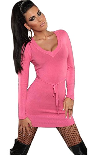 Damen Strickkleid Kleid Pullover Pulli LongShirt Sweatshirt Sweater V-Ausscnitt 34 36 38 40 Pink - 1