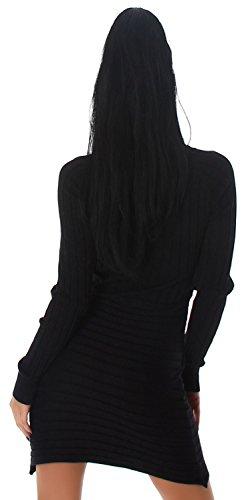Damen Strickkleid & Pullover mit Wasserfall-Ausschnitt Einheitsgröße (34-40), schwarz -