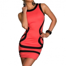 Damen Tunika Patch Kontrastfarbe ärmel bodycon Bleistiftkleid rosa Sexy Club-Wear Cocktail Abendkleid Kleid Damen Kleider -