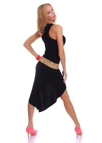 Damen Vokuhila Shirt-Kleid Minikleid Midikleid Trägerkleid Strandkleid Sommerkleid 34-36 (S-M) schwarz - 2