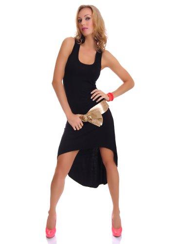Damen Vokuhila Shirt-Kleid Minikleid Midikleid Trägerkleid Strandkleid Sommerkleid 34-36 (S-M) schwarz - 3