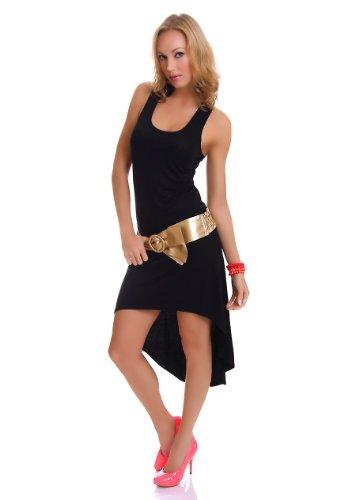 Damen Vokuhila Shirt-Kleid Minikleid Midikleid Trägerkleid Strandkleid Sommerkleid 34-36 (S-M) schwarz - 1