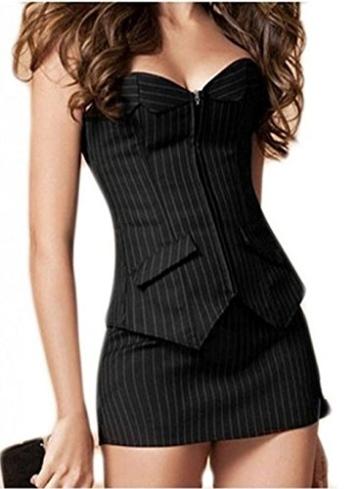 Damen Vollbrust Corsagenkleid Korsett Corsage Kleid Mini Rock Petticoat Übergrößen S-6XL - 1