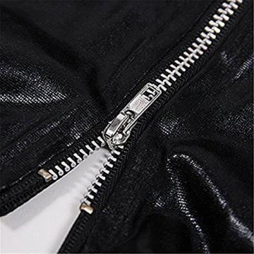 Damen Wetlook Minikleid Rückenfrei Lackleder Minikleid Kunstleder Dessous Schleuder Clubwear Clubbing Partykleid -