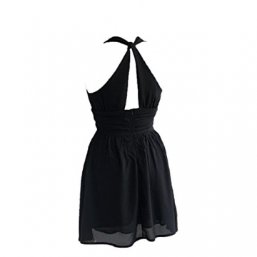 Dantiya Damen Frau Mädchen Tief V-Hals Hosenträger Chiffon Kleid (S:Brüste:86;Länge:79, Schwarz) -
