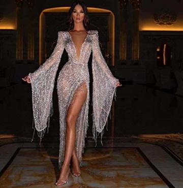 Dasongff Damen Tief V-Ausschnitt Abendkleider Pailletten Fransen Cocktailkleid Partykleid Sexy Abiballkleider mit Seiten Schlitz Durchsichtig Ballkleid Für Karneval Party und Hochzeit - 2