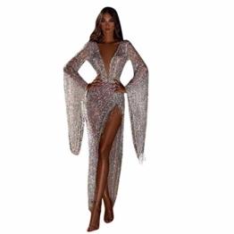 Dasongff Damen Tief V-Ausschnitt Abendkleider Pailletten Fransen Cocktailkleid Partykleid Sexy Abiballkleider mit Seiten Schlitz Durchsichtig Ballkleid Für Karneval Party und Hochzeit - 1