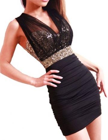Dayiss®Sexy Damenkleid Minikleid Etuikleid One-Schoulder Partykleid Dress Rückenfrei Abendkleid V-Ausschnitt Lace Pailetten Stretchy Bandeaukleid kurz Pailletten (Pailletten) - 1