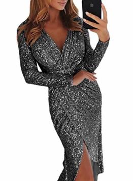 Dearlove Damen Elegant Pailletten Wrapped Asymmetrisch Kleider Tief V Ausschnitt Glitzer Abendkeider für Hochzeit Festlich Schwarz M - 1