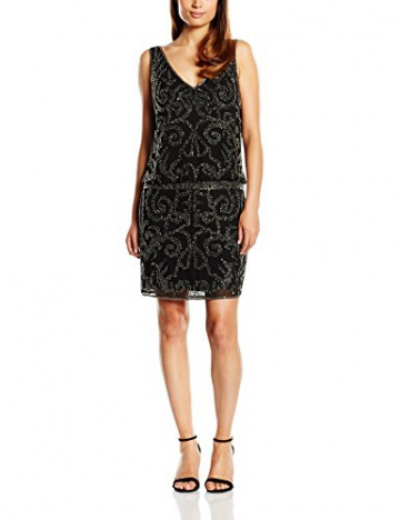 Derhy Damen Kleid, Uni Gr. 34, Schwarz - Schwarz - 3