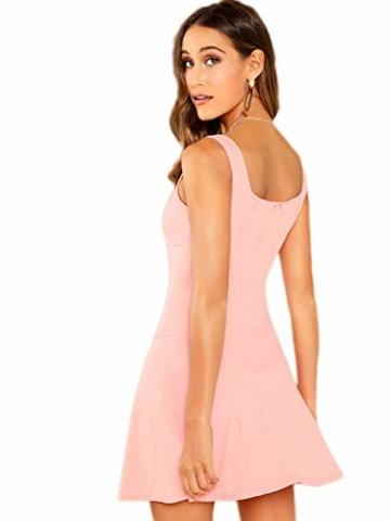 DIDK Damen Ärmellos Kleider Camisole Minikleider Einfarbig A Linie Sommerkleid Elegant Casual Freizeitkleid Strandkleid Ballonkleid Pink XS - 2