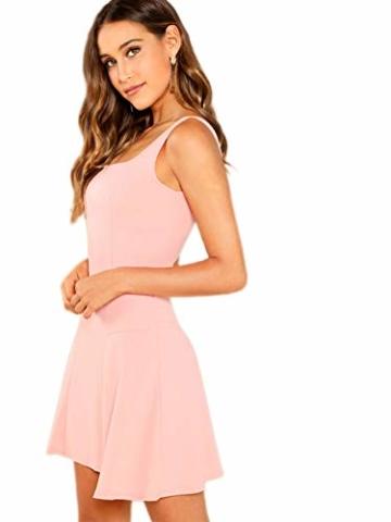 DIDK Damen Ärmellos Kleider Camisole Minikleider Einfarbig A Linie Sommerkleid Elegant Casual Freizeitkleid Strandkleid Ballonkleid Pink XS - 4