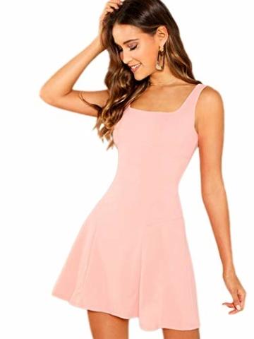 DIDK Damen Ärmellos Kleider Camisole Minikleider Einfarbig A Linie Sommerkleid Elegant Casual Freizeitkleid Strandkleid Ballonkleid Pink XS - 1