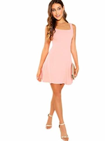 DIDK Damen Ärmellos Kleider Camisole Minikleider Einfarbig A Linie Sommerkleid Elegant Casual Freizeitkleid Strandkleid Ballonkleid Pink XS - 5