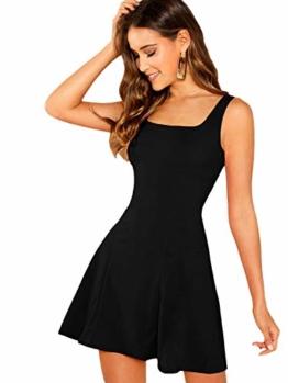 DIDK Damen Ärmellos Kleider Camisole Minikleider Einfarbig A Linie Sommerkleid Elegant Casual Freizeitkleid Strandkleid Ballonkleid Schwarz M - 1