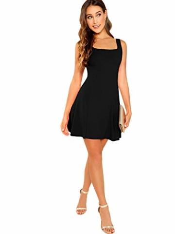 DIDK Damen Ärmellos Kleider Camisole Minikleider Einfarbig A Linie Sommerkleid Elegant Casual Freizeitkleid Strandkleid Ballonkleid Schwarz M - 3
