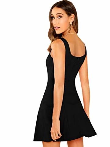 DIDK Damen Ärmellos Kleider Camisole Minikleider Einfarbig A Linie Sommerkleid Elegant Casual Freizeitkleid Strandkleid Ballonkleid Schwarz M - 4