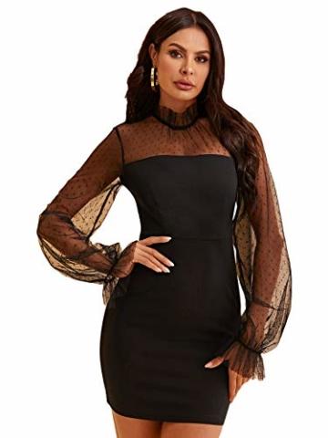 DIDK Damen Mesh Kleider Minikleid Cocktailkleid Etuikleid Party Business Elegant Bleistiftkleid Abendkleid Langarm Schmal Kleid Bodycon Schwarz#4 S - 1