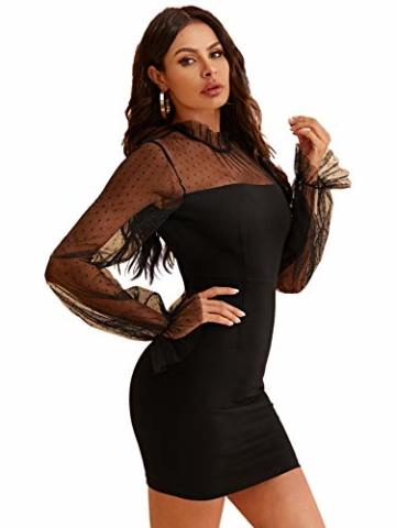DIDK Damen Mesh Kleider Minikleid Cocktailkleid Etuikleid Party Business Elegant Bleistiftkleid Abendkleid Langarm Schmal Kleid Bodycon Schwarz#4 S - 3
