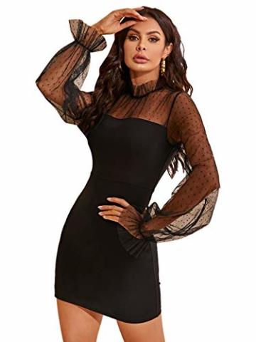DIDK Damen Mesh Kleider Minikleid Cocktailkleid Etuikleid Party Business Elegant Bleistiftkleid Abendkleid Langarm Schmal Kleid Bodycon Schwarz#4 S - 4
