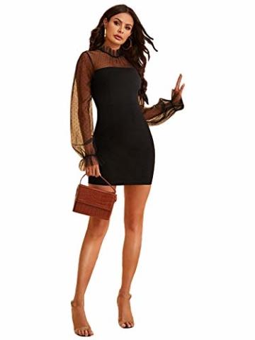 DIDK Damen Mesh Kleider Minikleid Cocktailkleid Etuikleid Party Business Elegant Bleistiftkleid Abendkleid Langarm Schmal Kleid Bodycon Schwarz#4 S - 5