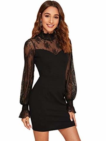 DIDK Damen Mesh Kleider Minikleid Cocktailkleid Etuikleid Party Business Elegant Bleistiftkleid Abendkleid Langarm Schmal Kleid Bodycon Schwarz#3 XS - 3