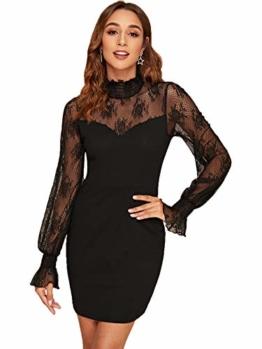DIDK Damen Mesh Kleider Minikleid Cocktailkleid Etuikleid Party Business Elegant Bleistiftkleid Abendkleid Langarm Schmal Kleid Bodycon Schwarz#3 XS - 1