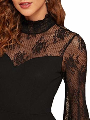 DIDK Damen Mesh Kleider Minikleid Cocktailkleid Etuikleid Party Business Elegant Bleistiftkleid Abendkleid Langarm Schmal Kleid Bodycon Schwarz#3 XS - 4