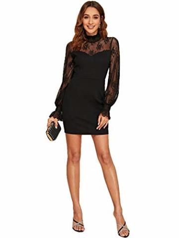 DIDK Damen Mesh Kleider Minikleid Cocktailkleid Etuikleid Party Business Elegant Bleistiftkleid Abendkleid Langarm Schmal Kleid Bodycon Schwarz#3 XS - 5