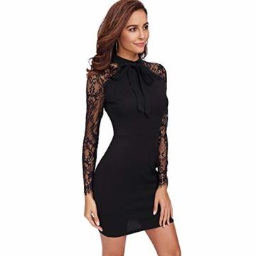 DIDK Damen Spitzenkleid Minikleid Cocktailkleid Etuikleid Party Business Elegant Kleider Abendkleid Langarm Schmal Kleid mit Schleife Schwarz XS - 3