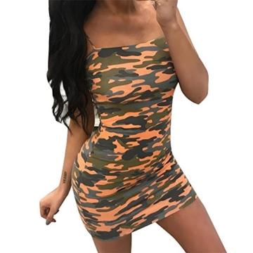 Dihope Damen Camouflage Kleid Bodycon Partykleid Sexy Minikleid Ärmellos Trägerkleid - 1