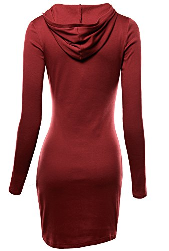 DJT Damen Langarmshirt Sweater Jersey Minikleid Freizeit Bodycon mit Kapuze Weinrot S - 2