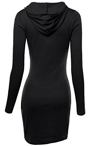 DJT Damen Langarmshirt Sweater Jersey Minikleid Freizeit Bodycon mit Kapuze Schwarz XL - 2