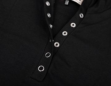 DJT Damen Langarmshirt Sweater Jersey Minikleid Freizeit Bodycon mit Kapuze Schwarz XL - 4