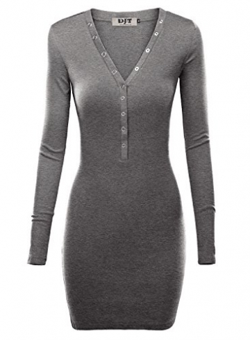 DJT Damen Langarmshirt Sweater Jersey Minikleid Freizeit Bodycon Dunkelgrau XL -