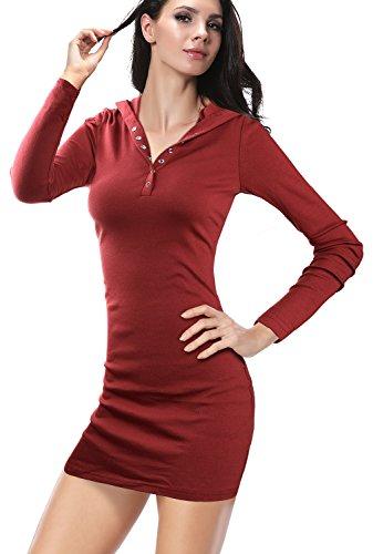DJT Damen Langarmshirt Sweater Jersey Minikleid Freizeit Bodycon mit Kapuze Weinrot S - 3