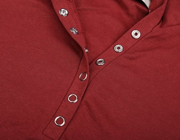 DJT Damen Langarmshirt Sweater Jersey Minikleid Freizeit Bodycon mit Kapuze Weinrot S - 4