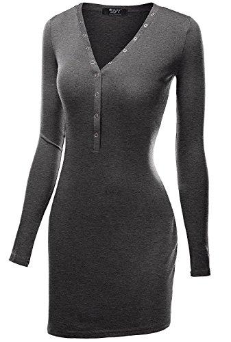 DJT Damen Langarmshirt Sweater Jersey Minikleid Freizeit Bodycon Dunkelgrau M - 1