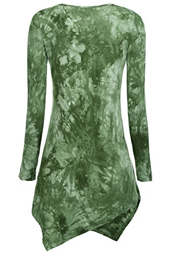 DJT Damen Tie-Dye Langarmshirt Asymmetrisch Hem Tunika Stretch Longshirts Gruen M - 2