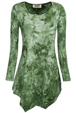 DJT Damen Tie-Dye Langarmshirt Asymmetrisch Hem Tunika Stretch Longshirts Gruen M - 1