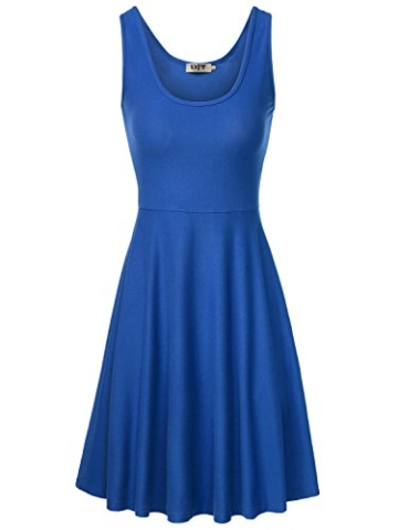 DJT Damen Vintage Sommerkleid Traeger mit Flatterndem Rock Blumenmuster Blau-2 XL - 2
